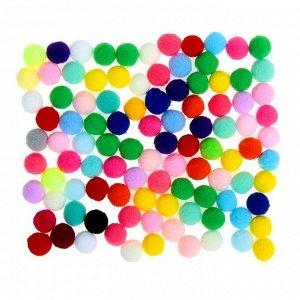 Набор текстильных деталей для декора «Бомбошки» 100 шт. набор, размер 1 шт. 1,2 см, цвет МИКС