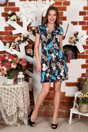 Д489 Платье Альбина (голубые цветы)