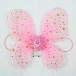 Миниатюра кукольная - крылья на резинке «Звездочки», цвет розовый