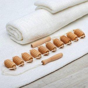 Массажёр-лента деревянный, роликовый, зубчатый, 10 звеньев