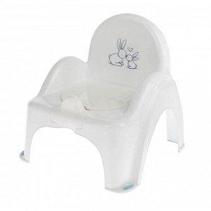 Горшок-стульчик музыкальный «Кролики» с крышкой, антискользящий, цвет белый