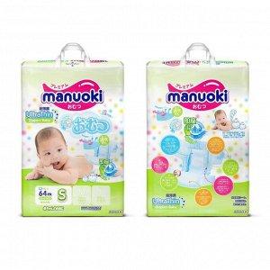 Подгузники Manuoki Ultrathin S (3-6 кг), 64 шт