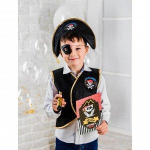 Набор пирата «Карамба», 6 предметов: шляпа, жилетка, наглазник, орден, подзорная труба, кодекс