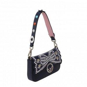 Трендовая женская сумочка через плечо Fold_Los из натуральной кожи цвета темного индиго.