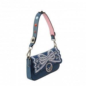 Трендовая женская сумочка через плечо Fold_Los из натуральной кожи цвета синего кобальта.