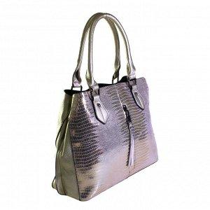Стильная женская сумочка Veltoner_Fine из натуральной кожи с лазерной обработкой и эко-кожи золотистого цвета.