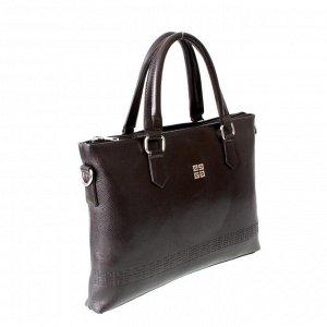 Мужская сумка Flongetr из эко-кожи шоколадного цвета.