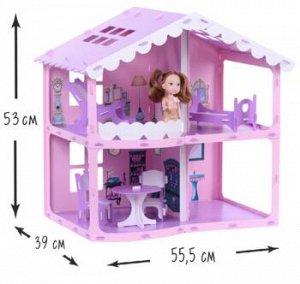 """Домик для кукол """"Дом Анжелика"""" розово-сиреневый (с мебелью) 000255"""