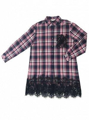 Платье Deloras 29888 Розово-синие клетки *