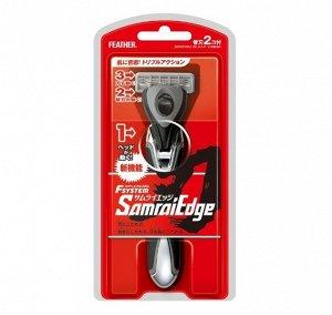 """Мужсской бритвенный станок с тройным лезвием Feather F-System """"Samurai Edge"""" (+ 1 кассета) / 60"""