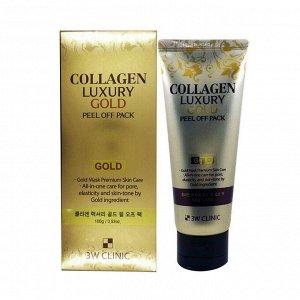 3W CLINIC Золотая маска-пленка для лица Collagen&Luxury Gold, 100 мл