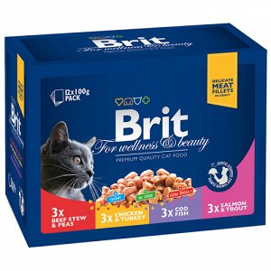 Brit Premium набор паучей д/кош Семейное ассорти 12*100гр (1/12)