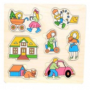 Вкладыши Вкладыши с цветной подложкой, которая поможет ребенку быстрее справиться с задачей и поместить части картинки по своим местам,упражняя тем самым глазомер, совершенствуя координацию движений.