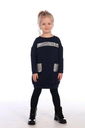 Платье Футер-петля с паетками,95% хлопок; 5% ПЭ,стирка при t не более 40 С