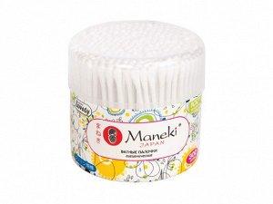 Палочки ватные гигиенические Maneki, серия Lovely, с белым пластиковым стиком, в пластиковом стакане, 300 шт/упаковка, Япония (Maneki Japan Co. Limited), СВ937