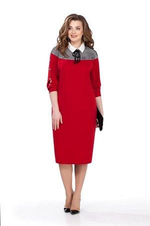 Платье Платье TEZA 153 красное  Состав ткани: Вискоза-20%; ПЭ-76%; Эластан-4%;  Рост: 164 см.  Элегантное платье полуприлегающего силуэта. Спинка со средним швом с молнией, внизу шлица. По переду вер