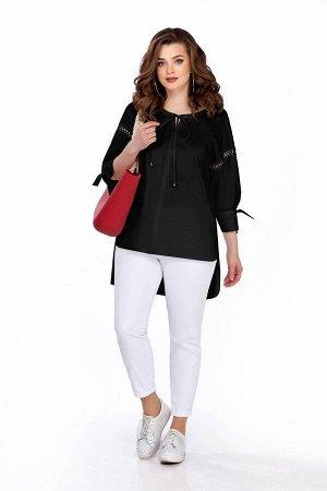 Костюм Костюм TEZA 164 черный/белый  Состав ткани: Хлопок-96%; Эластан-4%;  Рост: 164 см.  Комплект женский двухпредметный состоит из блузки и джинсовых брюк. Блузка прямого силуэта со спущенной прой