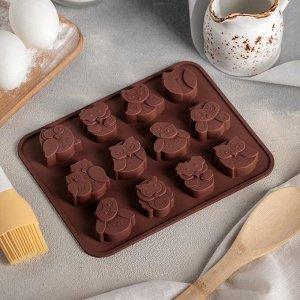 Форма для выпечки 15?19 см «Совята», 12 ячеек (3,5?3,5?1,5 см), цвет шоколадный