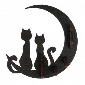 """Ключница открытая """"Коты и луна""""  17,5?16?3,5см"""