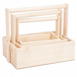 Набор деревянных ящиков 3 в 1 с шильдиком и ручкой «Любви и счастья». 30 ? 20 ? 25 см