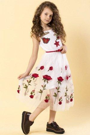 """Платье длинное """"Вышитая роза"""" комбинированный"""