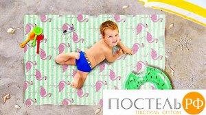 """ПППА037-12934 Пляжное покрывало """"Фламинго на песке"""" полиэстер 100% 90*140 см БОПП пакет/пайка"""