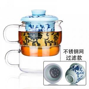 Френчпресс Термостойкий стелкянный френчпресс 2в1 с чашкой, 13*11 см