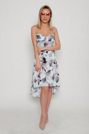 Платье Основная ткань: тонкий искусственный шёлк плательно-блузочного ассортимента с эффектом фотопечати (крупным рисунком «розы»).  Ткань со средним стрейчевым эффектом (тянется), непрозрачная, плотн