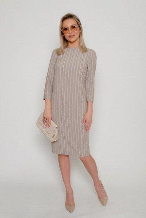 Платье Ткань: плательно-костюмная, меланжированная, с вертикальными полосами с раппортным повторением.  Плотная, средней толщины, со средним стрейчевым эффектом (тянется).  Состав: лён 40%, вискоза 50
