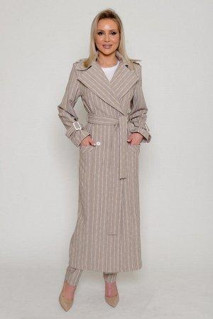 ТРЕНЧ Ткань: плательно-костюмная, меланжированная, с вертикальными полосами с раппортным повторением.  Плотная, средней толщины, со средним стрейчевым эффектом (тянется).  Состав: лён 40%, вискоза 50%