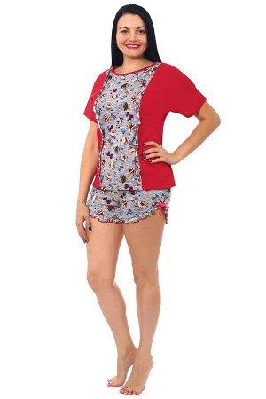 """Пижама с шортами кулирка """"Мишки красные"""""""