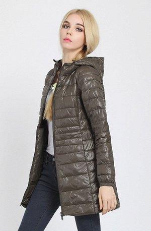 Женская удлиненная ультралегкая куртка С КАПЮШОНОМ, цвет хаки