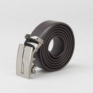 Ремень мужской, гладкий, пряжка - автомат тёмный металл, ширина - 3 см, цвет кофе 2992842