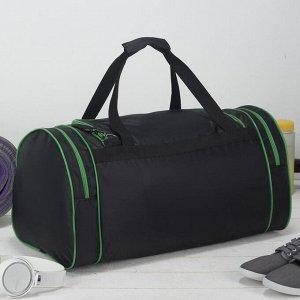 Сумка спортивная, отдел на молнии, с увеличением, 3 наружных кармана, длинный ремень, цвет чёрный/зелёный