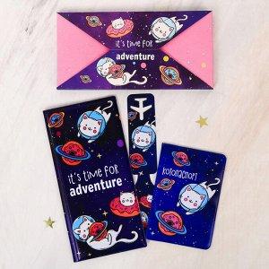 "Набор ""It's time for adventure"", туристический конверт, обложка на паспорт, бирка на чемодан   40236 4023620"