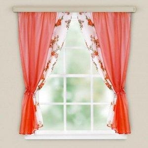 Комплект штор для кухни «Арина», цвет красный вуаль, однотонная вуаль-печать, принт микс, 240х160, п/э