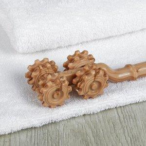 Чесалка с массажёром, 8 колёс, цвет коричневый