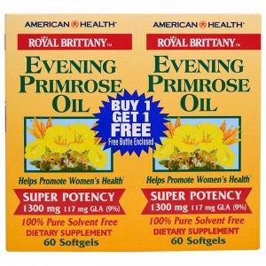 American Health, Royal Brittany, масло первоцвета вечернего, 1300мг, 2флакона, 60мягких таблеток в каждом