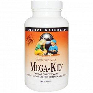Source Naturals, Mega-Kid, жевательные мультивитамины с натуральным ягодным вкусом, 60 пастилок