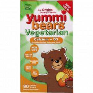 Hero Nutritional Products, Вегетарианские вкусные мишки, кальций + D3, 90 жевательные конфеты в виде медвежат