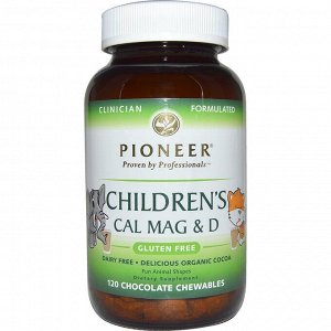 Pioneer Nutritional Formulas, Детская добавка с кальцием, магнием и витамином D, со вкусом шоколада, 120 жевательных таблеток