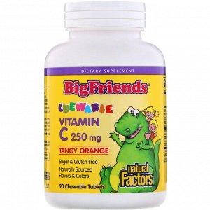 Natural Factors, Big Friends, жевательный витамин С, с апельсиновым вкусом, 250 мг, 90 жевательных таблеток