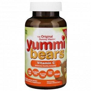 Hero Nutritional Products, Yummi Bears, витамин С, натуральный апельсин, ананас, клубника, 132 мишки Yummi