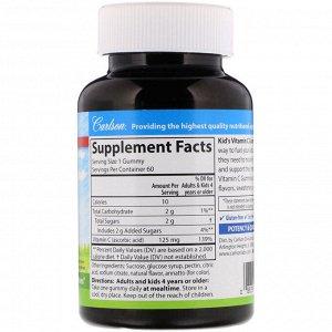 Carlson Labs, Kid&#x27 - s, жевательные конфеты с витамином С, с натуральным апельсиновым вкусом, 125 мг, 60 вегетарианских жевательных конфет