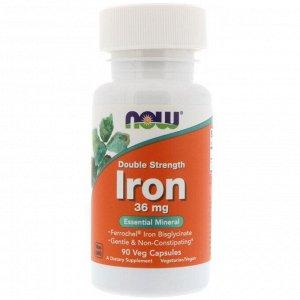 Now Foods, Железо, двойной концентрации, 36 мг, 90 растительных капсул