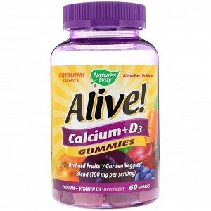 Nature&#x27 - s Way, Alive!, кальций и витамин D3, 60 жевательных конфет