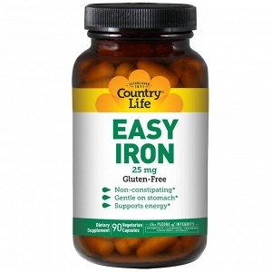 Country Life, Железо в легкоусвояемой форме, 25 мг, 90 растительных капсул
