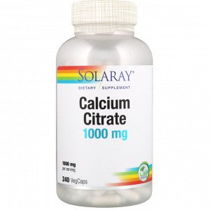 Solaray, Цитрат кальция, 1000 мг, 240 капсул