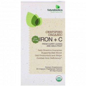 FutureBiotics, Сертифицированное органическое железо и витамин С, 90 органических вегетарианских таблеток