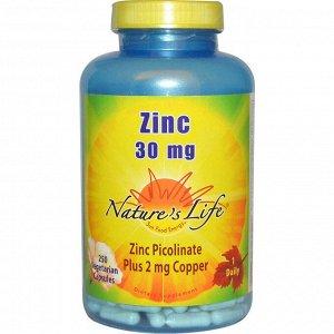 Nature&#x27 - s Life, Цинк, 30 мг, 250 растительных капсул